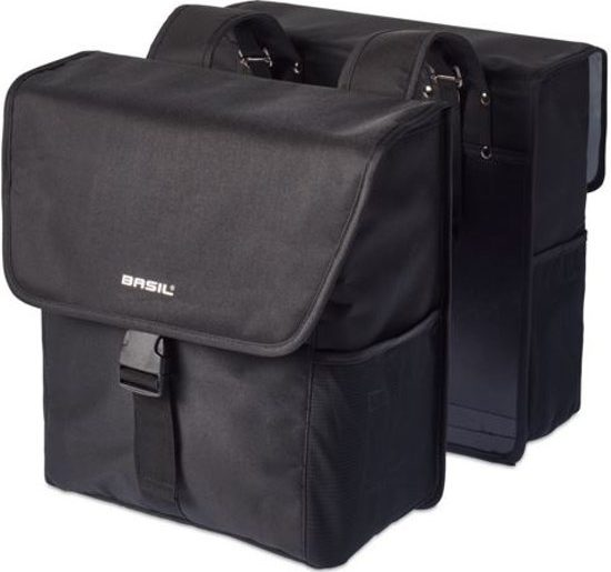 BASIL GO DOUBLE BAG. SOLID BLACK